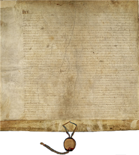 A piece of rectangular parchment with a ribbon and seal hanging from the bottom.