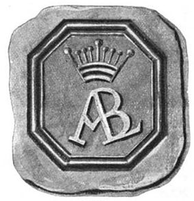 A black and white image shows a wax seal consisting of an octagon with a crown and the letters ALB inside it.