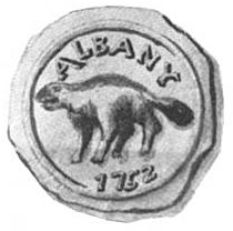 A black and white image shows a wax seal consisting of a circle, inside which is a beaver at center, topped by the letters ALBANY, atop the year 1752.