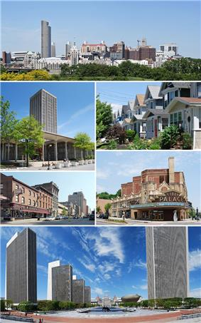 A medley of different scenes to represent the diversity of the city. At top is a photo of the city's skyline, juxtaposing modern towers from the 1960s with older buildings dating back to the 19th century. Above center, right shows cookie-cutter, single-family houses, all two-stories with porches. Below center, right shows the marquee of a buff- and red-brick theater; marquee reads