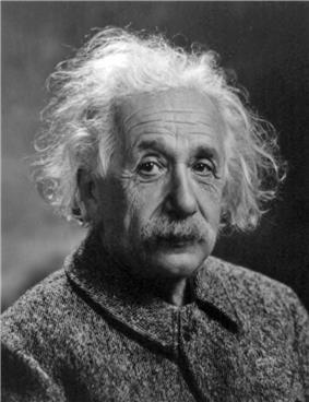A photograph of Albert Einstein, with flowing, white hear