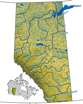 Rivers and lakes in Alberta