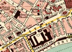 Map showing planned station locations near the Strand.