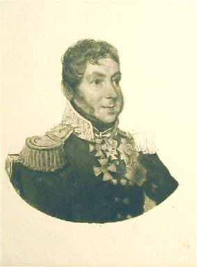 Portrait of Gorchakov with long sideburns in military uniform