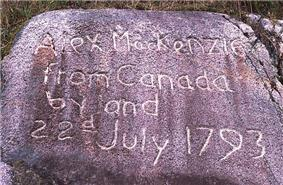 Inscription on a stone at the end of Alexander Mackenzie's 1792-1793 Canada crossing from the Peace River to the Pacific Ocean coast