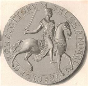 Reverse side of the circular seal used by Alexander the Second, showing the King, in full armour, seated on horseback. The upright Lion symbol is shown upon both the saddle and the shield held by the King.
