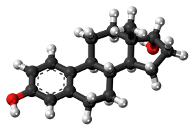 Ball-and-stick model of the alfatradiol molecule