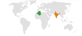 Map indicating locations of Algeria and India