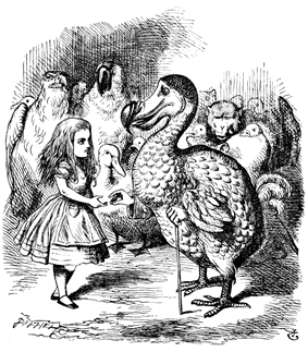 Drawing of a little girl talking to a dodo with a cane