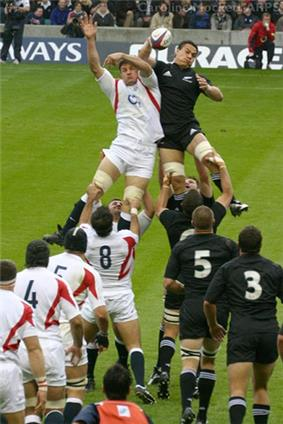 The All Blacks and England contesting a line-out. Both sets of forwards lined up wearing white and black respectively, with a player from each side at the rear of the line out being lifted by their team-mates while both reaching for the ball.