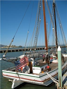Starboard view of scow schooner