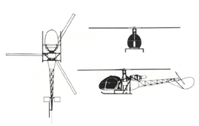 Orthographically projected diagram of the Aérospatiale Alouette II