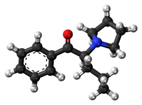 Ball-and-stick model of the alpha-PVP molecule