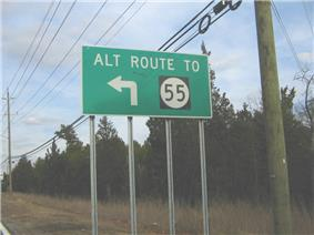 A green sign along a road lined with trees and power lines reading alt route to Route55 with an arrow pointing to the left