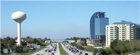 Skyline of Altamonte Springs viewed from I-4, with the Majesty Building (locally known as