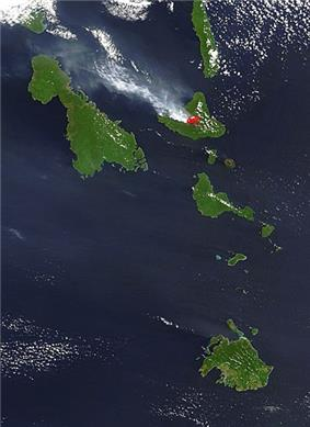 Ash plume from Ambrym Volcano, October 4, 2004