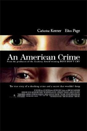 Against a black background, a tightly cropped image showing only Catherine Keener's glaring eyes appears above the title