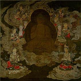 A deity in frontal view surrounded by attendants floating on clouds.
