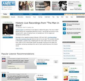 Amie Street homepage