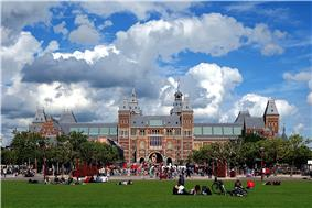 Façade of the Rijksmuseum as seen from the Museum Square