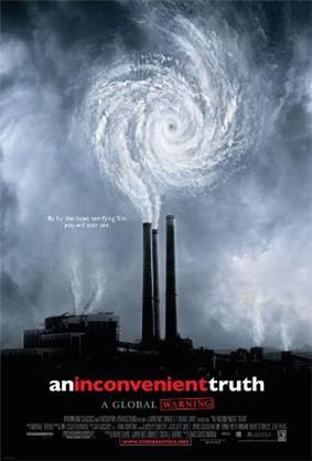 A movie poster displays industrial smoke stacks whose emissions form a hurricane eyewall