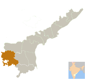 Location of Anantapur district district in Andhra Pradesh
