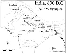Ancient Indian kingdoms, 600 B.C.