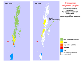 Precontact and current distribution of Anamanese languages