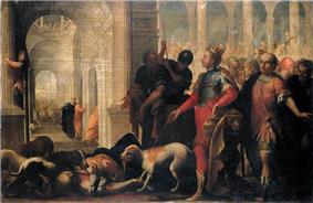 painting of Jezebel's dead body being consumed by dogs as Jehu gestures at her body in triumph
