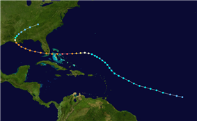 The path of a hurricane that starts in the open Atlantic Ocean and tracks northwestward. It curves westward while between Puerto Rico and Bermuda, eventually crossing The Bahamas and Florida. In the Gulf of Mexico, the track re-curves into Louisiana and stops over eastern Tennessee.
