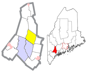 Location of Greene (in yellow) in Androscoggin County and the state of Maine