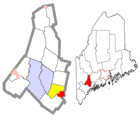 Location of the town of Lisbon (in yellow) in Androscoggin County and the state of Maine