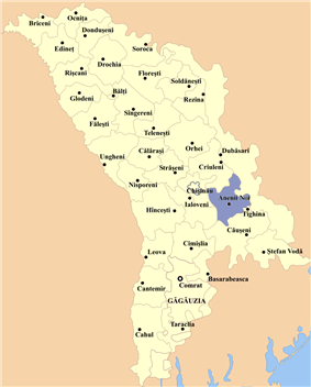 Map of Moldova highlighting Anenii Noi district