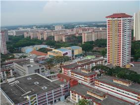 Aerial view of Ang Mo Kio Town Centre with nearby HDB blocks in the background