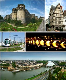Top to bottom, left to right: Château d'Angers, Maison d'Adam; vehicle of Anger tramway, Verdun Bridge at night; view of Maine River, Verdun Bridge and downtown area from Angers Castle