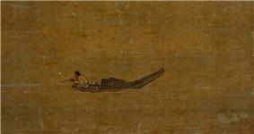 A painting of a man fishing in a long, thin, one person boat. Attached to his fishing rod is a black cylinder, the fishing reel.