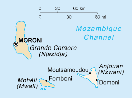 The Comoros islands. Anjouan is the rightmost island.