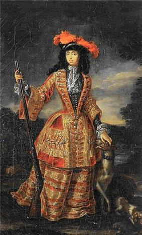 A lady wears a yellow and red riding dress against a cloudy-sky. She embraces a firearm with her right hand; and a dog with her left.