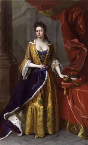 A full length portrait of a pale-skinned woman standing, left arm resting on an orb, itself on a cushion supported by a table.  Next to the orb is a crown and sceptre.  Thick red curtains frame the woman, who is dressed in yellow.  Her right arm holds a violet ermine robe.  Stone columns are visible behind her.