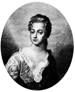Comely English 18th century actress, with short wavy hair and heavy-lidded eyes, her dress showing much decolletage.