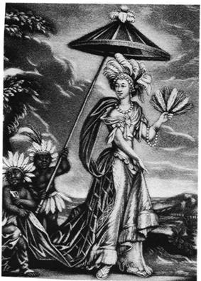 Image of Anne Bracegirdle in a feather headdress possibly received from Aphra Behn.