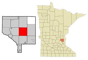 Location of the city of Ham Lakewithin Anoka County, Minnesota