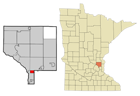 Location of the city of Spring Lake Parkwithin Anoka and Ramsey Countiesin the state of Minnesota