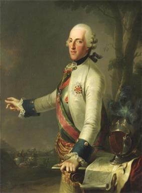 Painting shows a man in a 18th century white wig, gesturing at a distant battle with his right hand while his left hand rests on a map table. He wears a white military coat with dark blue cuffs and a sash across his right shoulder.