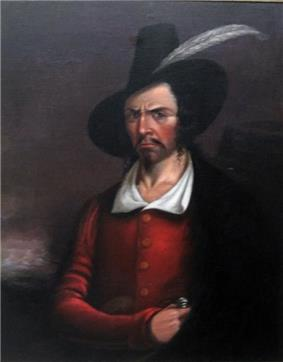 Painting of stern-faced man with Guy Fawkes' style black hat. His right hand holds the handle of a dagger tucked into a cloak hanging from his left shoulder.