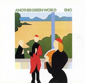 A picture of the album cover. In the center is an image made of geometric shapes showing two people inside and a window showing bushes and a man outside. Above this image the words