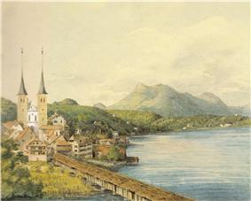 watercolour sketch of lakeside scene in springtime, water taking up right hand side of sketch, church and small town at left, hills in background