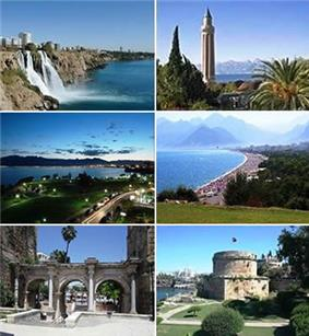 Clockwise from top left: 1. Düden Waterfalls, 2. Yivliminare Mosque, 3. Konyaaltı, 4. Hıdırlık Tower, 5. Hadrian's Gate and 6. Falez Park at night.