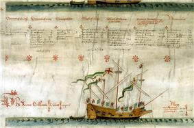 A worn parchment document with several columns of text above a picture of a small sailing vessel.