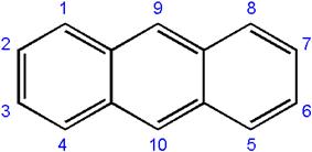 Skeletal formula and numbering system of anthracene